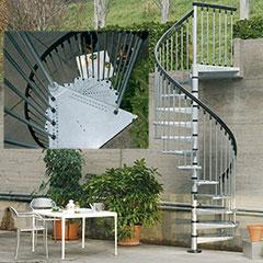 FONTANOT Spindeltreppe Modell Civik Zink für Außenbereich